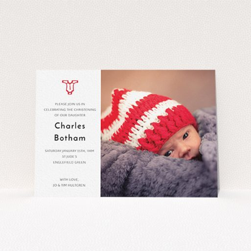 """A christening invite design titled """"Onesie"""". It is an A6 invite in a landscape orientation. It is a photographic christening invite with room for 1 photo. """"Onesie"""" is available as a flat invite, with tones of white and red."""