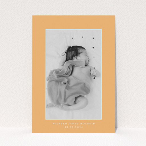 """A christening invite template titled """"Orange Mint Photo Frame"""". It is an A5 invite in a portrait orientation. It is a photographic christening invite with room for 1 photo. """"Orange Mint Photo Frame"""" is available as a flat invite, with tones of orange and blue."""