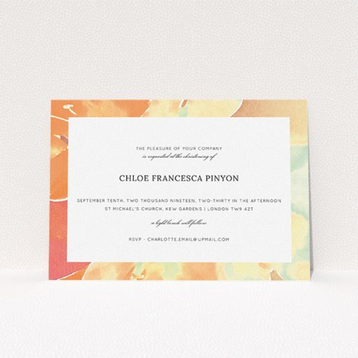 """A christening invite named """"Pastel Blossom"""". It is an A5 invite in a landscape orientation. """"Pastel Blossom"""" is available as a flat invite, with tones of orange and mint green."""