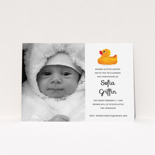 """A christening invite design called """"Rubber Ducky"""". It is an A6 invite in a landscape orientation. It is a photographic christening invite with room for 1 photo. """"Rubber Ducky"""" is available as a flat invite, with tones of orange and white."""
