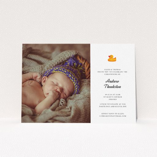 """A christening invite design called """"Rubber Ducky Motif"""". It is an A5 invite in a landscape orientation. It is a photographic christening invite with room for 1 photo. """"Rubber Ducky Motif"""" is available as a flat invite, with tones of white and orange."""