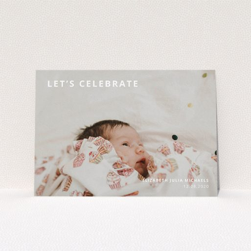 """A christening invite design titled """"Sans Serif"""". It is an A5 invite in a landscape orientation. It is a photographic christening invite with room for 1 photo. """"Sans Serif"""" is available as a flat invite, with mainly white colouring."""