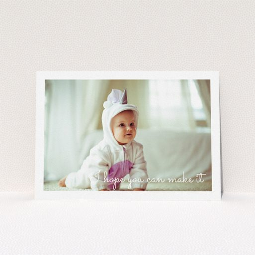 """A christening invite design named """"See you at the font"""". It is an A5 invite in a landscape orientation. It is a photographic christening invite with room for 1 photo. """"See you at the font"""" is available as a flat invite, with mainly white colouring."""