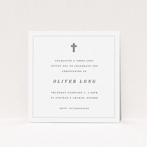 """A christening invite design named """"Simple Religious Design"""". It is a square (148mm x 148mm) invite in a square orientation. """"Simple Religious Design"""" is available as a flat invite, with mainly white colouring."""