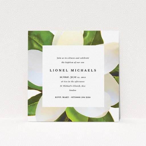 """A christening invite template titled """"Summer Border"""". It is a square (148mm x 148mm) invite in a square orientation. """"Summer Border"""" is available as a flat invite, with tones of green and white."""