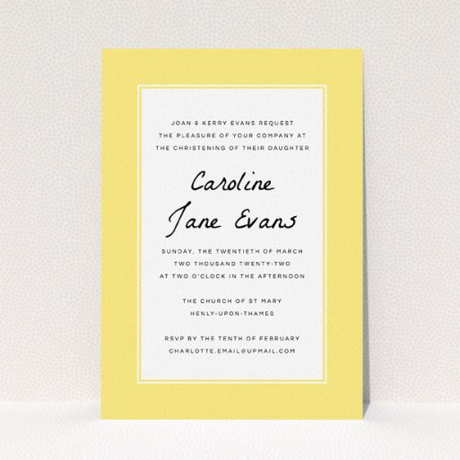 """A christening invite design named """"Sunny Tradition"""". It is an A5 invite in a portrait orientation. """"Sunny Tradition"""" is available as a flat invite, with tones of yellow and white."""