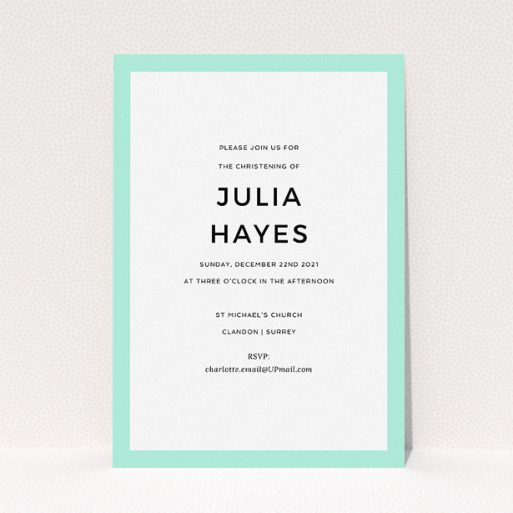 """A christening invite template titled """"Thick Mint"""". It is an A5 invite in a portrait orientation. """"Thick Mint"""" is available as a flat invite, with tones of green and white."""