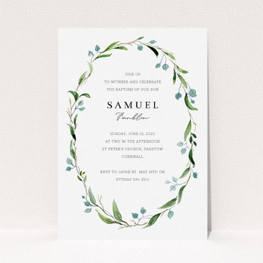 """A christening invite named """"Thin Wreath"""". It is an A5 invite in a portrait orientation. """"Thin Wreath"""" is available as a flat invite, with tones of blue and green."""
