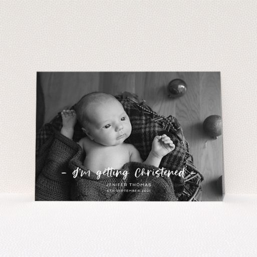 """A christening invite template titled """"To the Point"""". It is an A5 invite in a landscape orientation. It is a photographic christening invite with room for 1 photo. """"To the Point"""" is available as a flat invite, with mainly white colouring."""