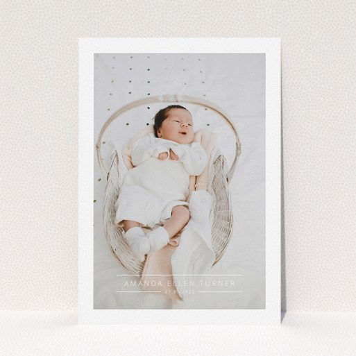 """A christening invite design titled """"Tramlines"""". It is an A5 invite in a portrait orientation. It is a photographic christening invite with room for 1 photo. """"Tramlines"""" is available as a flat invite, with mainly white colouring."""