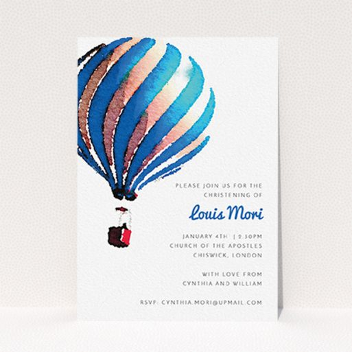 """A christening invite named """"Up-and-away blue"""". It is an A6 invite in a portrait orientation. """"Up-and-away blue"""" is available as a flat invite, with tones of blue and white."""
