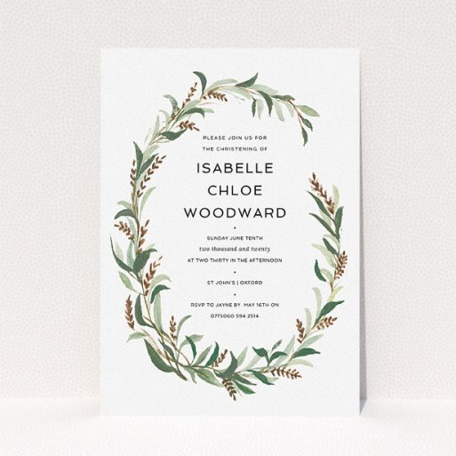 """A christening invite design called """"Winter Floral"""". It is an A5 invite in a portrait orientation. """"Winter Floral"""" is available as a flat invite, with tones of faded green, light brown and light green."""