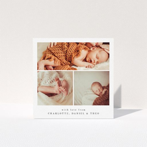 """A christening thank you card design called """"3 Frames"""". It is a square (148mm x 148mm) card in a square orientation. It is a photographic christening thank you card with room for 3 photos. """"3 Frames"""" is available as a folded card, with mainly white colouring."""