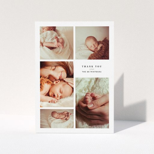 """A christening thank you card design called """"5-Frame Portrait"""". It is an A5 card in a portrait orientation. It is a photographic christening thank you card with room for 3 photos. """"5-Frame Portrait"""" is available as a folded card, with tones of black and white."""