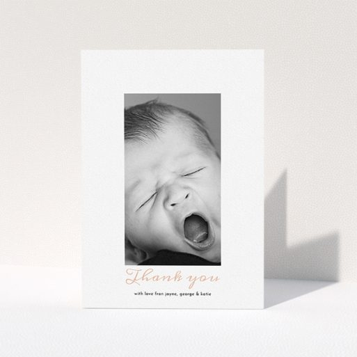 """A christening thank you card template titled """"Central Portrait"""". It is an A5 card in a portrait orientation. It is a photographic christening thank you card with room for 1 photo. """"Central Portrait"""" is available as a folded card, with tones of white and pink."""