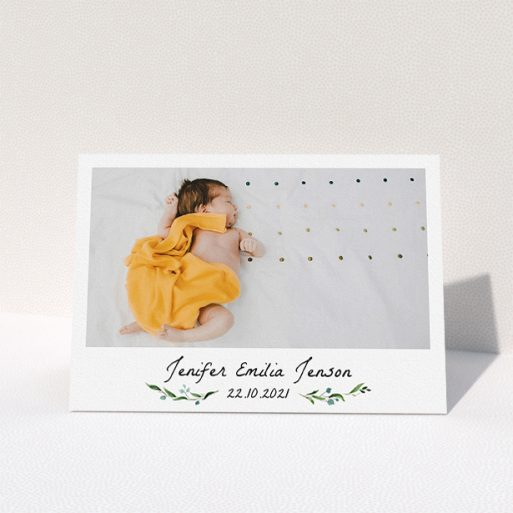 """A christening thank you card design named """"Classic Floral"""". It is an A5 card in a landscape orientation. It is a photographic christening thank you card with room for 1 photo. """"Classic Floral"""" is available as a folded card, with mainly green colouring."""