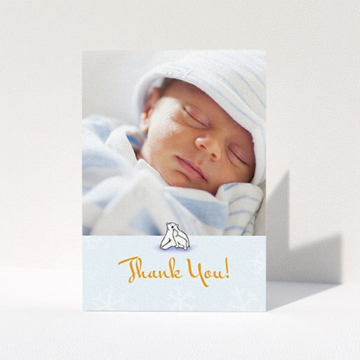 """A christening thank you card design named """"Polar Picture"""". It is an A6 card in a portrait orientation. It is a photographic christening thank you card with room for 1 photo. """"Polar Picture"""" is available as a folded card, with tones of blue and white."""