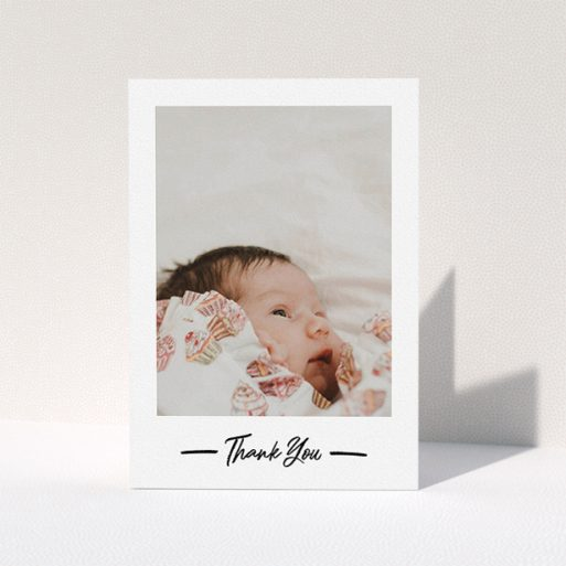 """A christening thank you card design named """"Portrait Thank You Photo"""". It is an A5 card in a portrait orientation. It is a photographic christening thank you card with room for 1 photo. """"Portrait Thank You Photo"""" is available as a folded card, with mainly white colouring."""