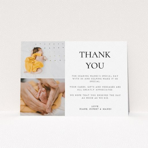 """A christening thank you card design titled """"Stacked Frames in Thirds"""". It is an A5 card in a landscape orientation. It is a photographic christening thank you card with room for 2 photos. """"Stacked Frames in Thirds"""" is available as a flat card, with mainly white colouring."""