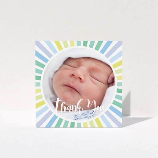 """A christening thank you card template titled """"Sun Centre"""". It is a square (148mm x 148mm) card in a square orientation. It is a photographic christening thank you card with room for 1 photo. """"Sun Centre"""" is available as a folded card, with mainly light blue colouring."""