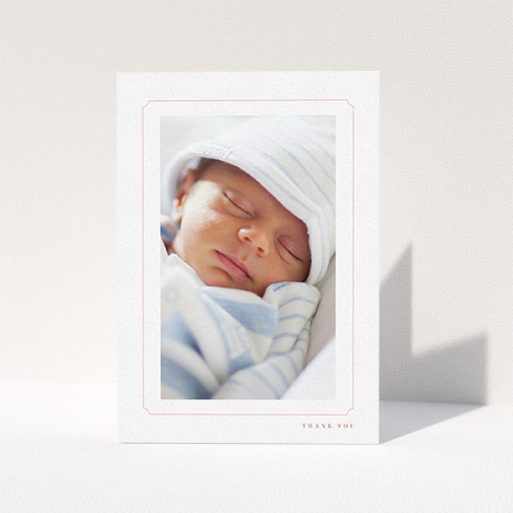 """A christening thank you card design called """"Thin Pink"""". It is an A6 card in a portrait orientation. It is a photographic christening thank you card with room for 1 photo. """"Thin Pink"""" is available as a folded card, with tones of white and pink."""