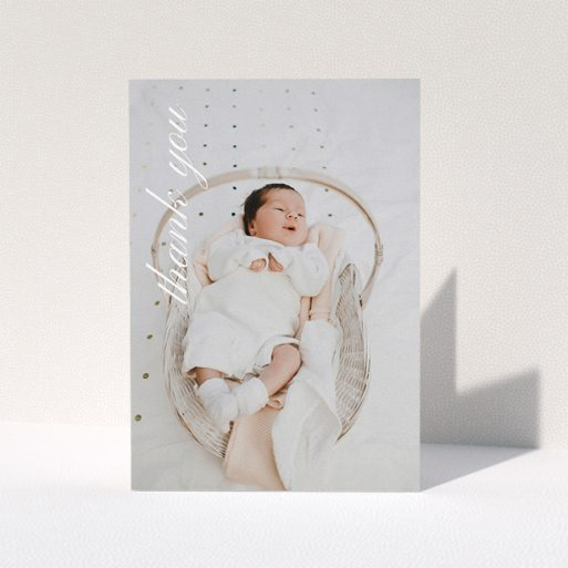 """A christening thank you card named """"Up the Side"""". It is an A5 card in a portrait orientation. It is a photographic christening thank you card with room for 1 photo. """"Up the Side"""" is available as a folded card, with mainly white colouring."""
