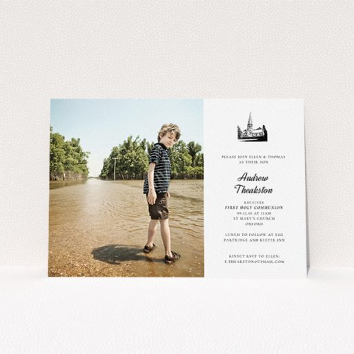 """A communion invitation template titled """"Church Stamp"""". It is an A5 invite in a landscape orientation. It is a photographic communion invitation with room for 1 photo. """"Church Stamp"""" is available as a flat invite, with mainly white colouring."""