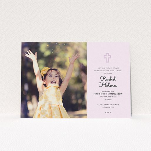 """A communion invitation design titled """"Pink Side Frame"""". It is an A5 invite in a landscape orientation. It is a photographic communion invitation with room for 1 photo. """"Pink Side Frame"""" is available as a flat invite, with mainly purple/dark pink colouring."""