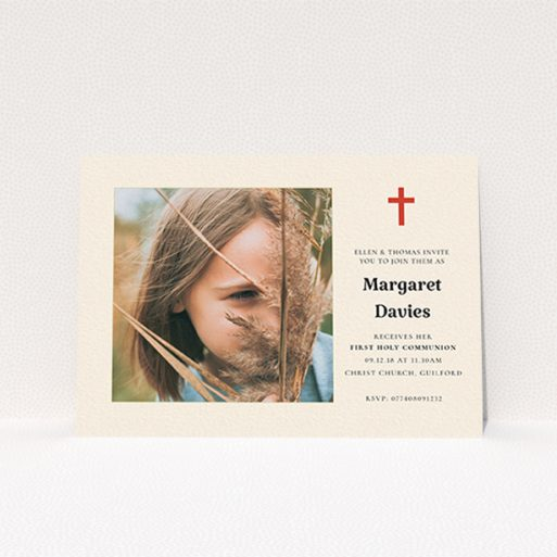 """A communion invitation template titled """"Red Cross"""". It is an A6 invite in a landscape orientation. It is a photographic communion invitation with room for 1 photo. """"Red Cross"""" is available as a flat invite, with tones of red and cream."""