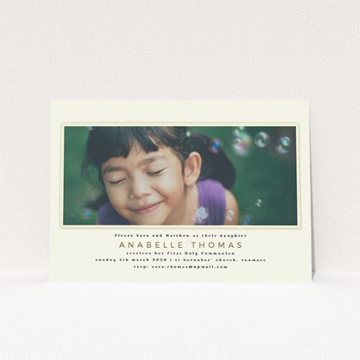 """A communion invitation design named """"Torn Cream Mount"""". It is an A5 invite in a landscape orientation. It is a photographic communion invitation with room for 1 photo. """"Torn Cream Mount"""" is available as a flat invite, with mainly cream colouring."""