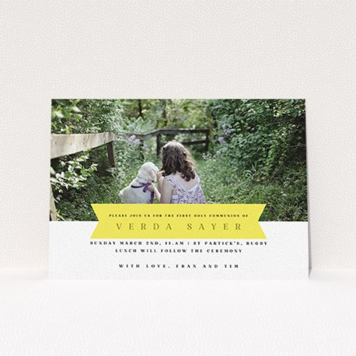 """A communion invitation named """"Yellow Banner"""". It is an A6 invite in a landscape orientation. It is a photographic communion invitation with room for 1 photo. """"Yellow Banner"""" is available as a flat invite, with tones of yellow and white."""