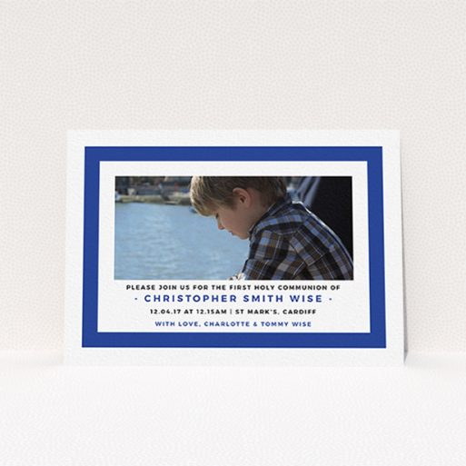 """A communion invite card called """"Big Blue"""". It is an A6 invite in a landscape orientation. It is a photographic communion invite card with room for 1 photo. """"Big Blue"""" is available as a flat invite, with tones of blue and white."""