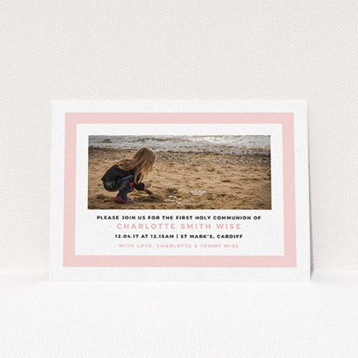 """A communion invite card named """"Big Pink"""". It is an A6 invite in a landscape orientation. It is a photographic communion invite card with room for 1 photo. """"Big Pink"""" is available as a flat invite, with tones of pink and white."""