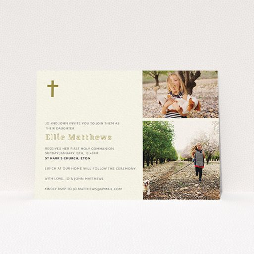 """A communion invite card named """"Gold Corner Cross"""". It is an A6 invite in a landscape orientation. It is a photographic communion invite card with room for 2 photos. """"Gold Corner Cross"""" is available as a flat invite, with tones of cream and gold."""