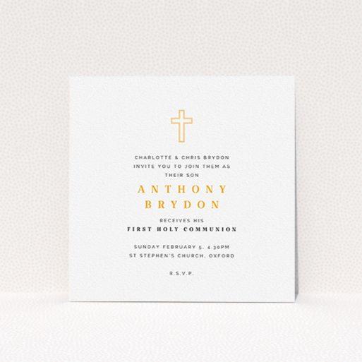 "A communion invite card called ""Orange Cross Outline"". It is a square (148mm x 148mm) invite in a square orientation. ""Orange Cross Outline"" is available as a flat invite, with tones of white and orange."