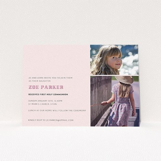 """A communion invite card design titled """"Pink Stacked Frames"""". It is an A6 invite in a landscape orientation. It is a photographic communion invite card with room for 2 photos. """"Pink Stacked Frames"""" is available as a flat invite, with mainly pink colouring."""