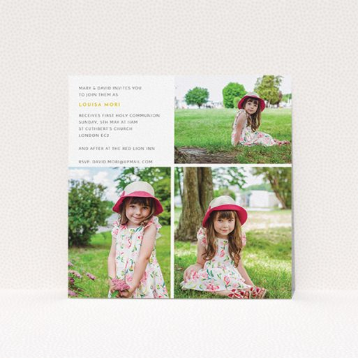 """A communion invite card named """"Quarter Frames"""". It is a square (148mm x 148mm) invite in a square orientation. It is a photographic communion invite card with room for 3 photos. """"Quarter Frames"""" is available as a flat invite, with mainly white colouring."""