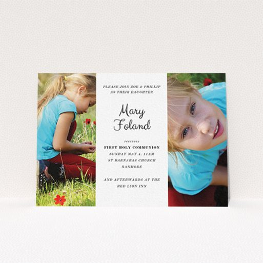 """A communion invite card named """"Sandwich Frame"""". It is an A6 invite in a landscape orientation. It is a photographic communion invite card with room for 2 photos. """"Sandwich Frame"""" is available as a flat invite, with mainly white colouring."""
