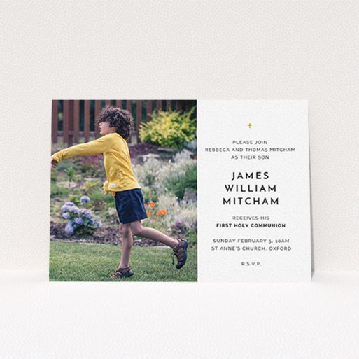 """A communion invite card named """"Tiny Cross"""". It is an A6 invite in a landscape orientation. It is a photographic communion invite card with room for 1 photo. """"Tiny Cross"""" is available as a flat invite, with tones of white and gold."""