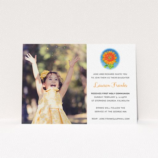 """A communion invite card design called """"Watercolour Flower"""". It is an A6 invite in a landscape orientation. It is a photographic communion invite card with room for 1 photo. """"Watercolour Flower"""" is available as a flat invite, with tones of white and blue."""
