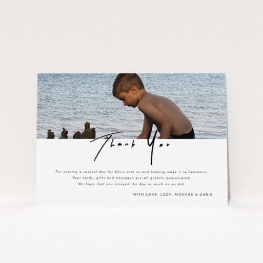"""A communion thank you card design called """"Half and Half"""". It is an A5 card in a landscape orientation. It is a photographic communion thank you card with room for 1 photo. """"Half and Half"""" is available as a flat card, with mainly white colouring."""