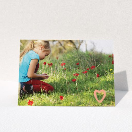 """A communion thank you card called """"Hand Drawn Heart"""". It is an A5 card in a landscape orientation. It is a photographic communion thank you card with room for 1 photo. """"Hand Drawn Heart"""" is available as a folded card, with tones of white and pink."""