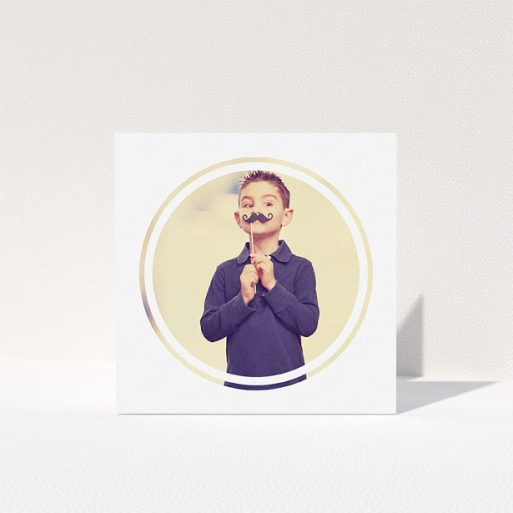 """A communion thank you card called """"Modern Circle Frame"""". It is a square (148mm x 148mm) card in a square orientation. It is a photographic communion thank you card with room for 1 photo. """"Modern Circle Frame"""" is available as a folded card, with mainly white colouring."""