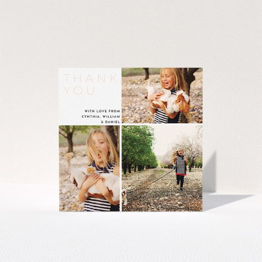 """A communion thank you card template titled """"Quarter Frames"""". It is a square (148mm x 148mm) card in a square orientation. It is a photographic communion thank you card with room for 3 photos. """"Quarter Frames"""" is available as a folded card, with tones of white and pink."""