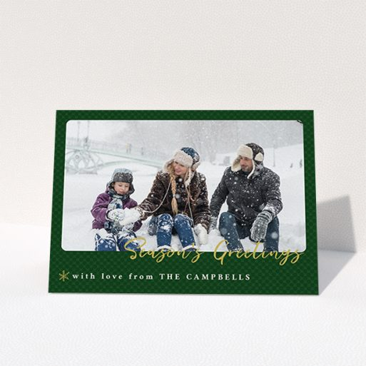 """A custom christmas card design titled """"Green Christmas Rounded"""". It is an A6 card in a landscape orientation. It is a photographic custom christmas card with room for 1 photo. """"Green Christmas Rounded"""" is available as a folded card, with tones of green and gold."""