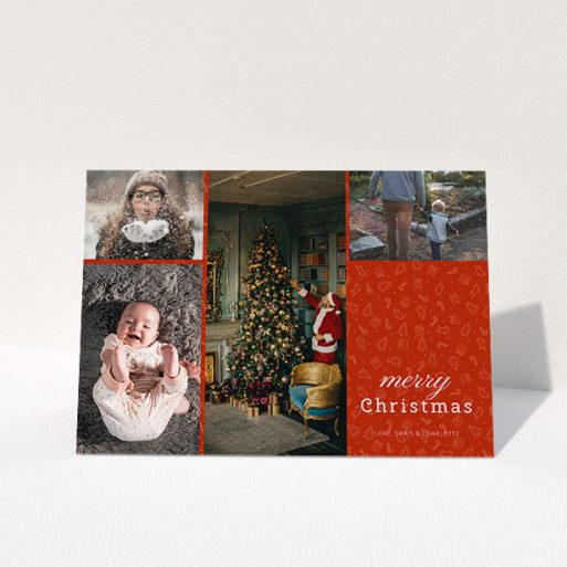 """A custom christmas card design called """"Iconic Christmas"""". It is an A5 card in a landscape orientation. It is a photographic custom christmas card with room for 4 photos. """"Iconic Christmas"""" is available as a folded card, with tones of red and white."""