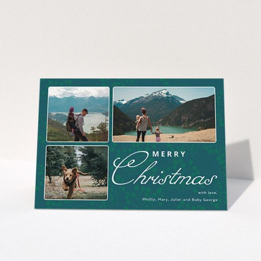 """A custom christmas card design called """"Rounded Mistletoe"""". It is an A6 card in a landscape orientation. It is a photographic custom christmas card with room for 3 photos. """"Rounded Mistletoe"""" is available as a folded card, with mainly green colouring."""