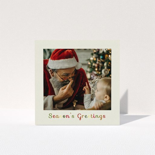 """A custom christmas card named """"Season's Greetings"""". It is a square (148mm x 148mm) card in a square orientation. It is a photographic custom christmas card with room for 1 photo. """"Season's Greetings"""" is available as a folded card, with tones of cream, red and yellow."""