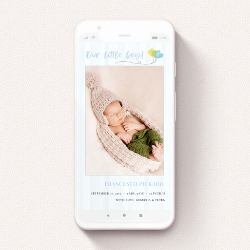 """A digital baby announcement named """"Balloooons Blue"""". It is a smartphone screen sized announcement in a portrait orientation. It is a photographic digital baby announcement with room for 1 photo. """"Balloooons Blue"""" is available as a flat announcement, with mainly blue colouring."""