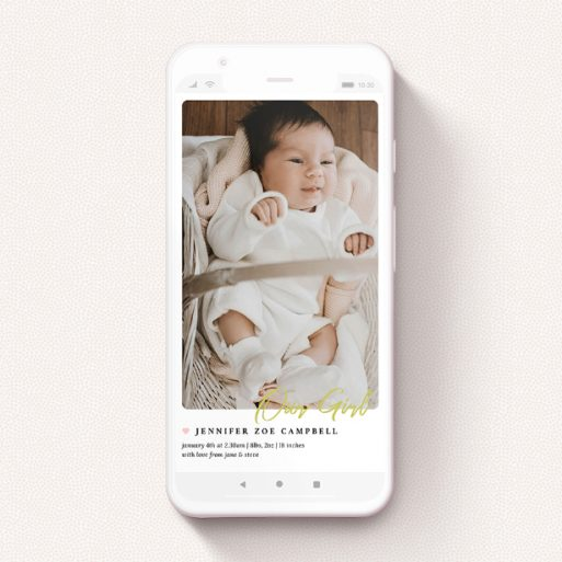 """A digital baby announcement design called """"Gold Stamp - Girl"""". It is a smartphone screen sized announcement in a portrait orientation. It is a photographic digital baby announcement with room for 1 photo. """"Gold Stamp - Girl"""" is available as a flat announcement, with tones of white and gold."""
